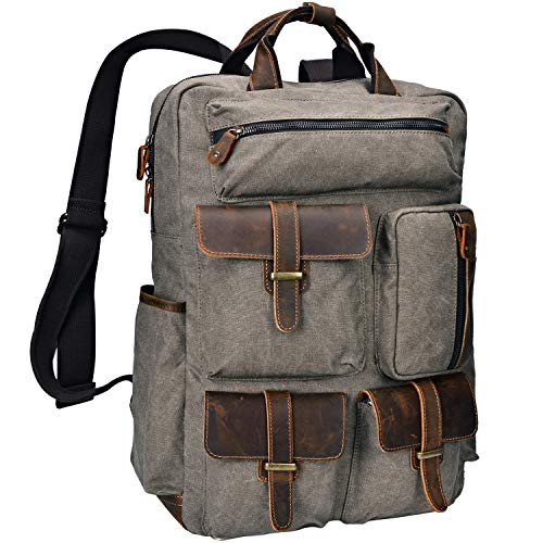 ALTOSY Canvas Backpack Crazy Horse Leather Rucksack for men Laptop Bag 5351-1 (Army Green)