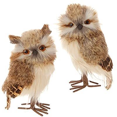 "Christmas Feathered Brown Owl Bird Figure Ornaments - 5.5"" Tall - Set of 2"