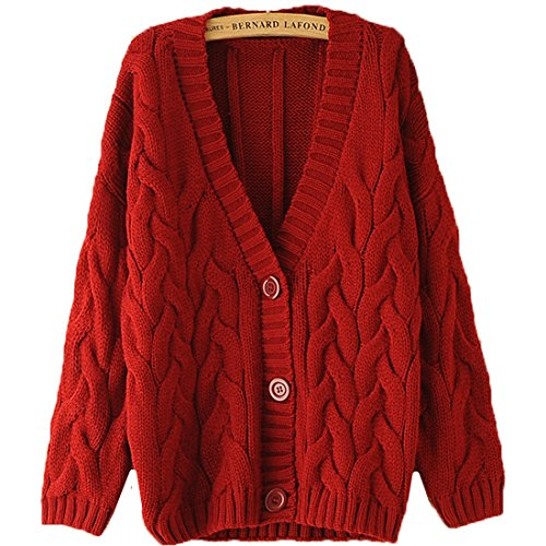 FCYOSO Women's Cable Knitted Grandad Button Cardigan One Size Red (Sahalie Cardigan)