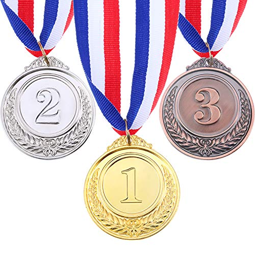 (Blulu 3 Pieces Olympic Style Winner Medals Gold Sliver Bronze Metal Awards Winner Medals with Ribbon)