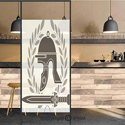 3D Decorative Privacy Window Films,Roman Helmet with Sword and Olive Branches Ancient Mediterranean Empire Icons Decorative,No-Glue Self Static Cling Glass film for Home Bedroom Bathroom Kitchen Offic