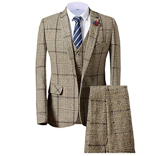 Solove Suit Gilet da Uomo in Lana Groomsmen Tweed Formal
