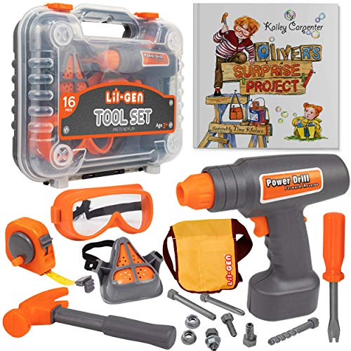 Li'l-Gen Kids Tool Set with Book, Pretend Play Toys for Boys and Girls Age 3+, 16 Pieces Tools Plus Case - Includes Oliver's Surprise Project! ()