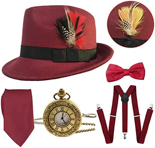 1920s Mens Gatsby Costume Accessories,Manhattan Fedora Hat w/Feather,Vintage Pocket Watch,Suspenders,Pre Tied Bow Tie,Tie – The Super Cheap