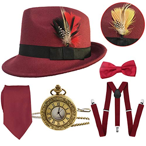 1920s Mens Gatsby Costume Accessories,Manhattan Fedora Hat w/Feather,Vintage Pocket Watch,Suspenders Y-Back Trouser Braces,Pre Tied Bow Tie,Tie (Burgundy)]()