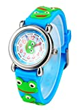 Student Silicone Band Round Dial Water-resistant Teaching Watch - Light Blue