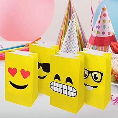 36 Bolsas de Regalo de Emoji - Bolsas Detalles y golosinas Ideal para Navidad Fiestas y cumpleaños, Eventos con niños y en el Colegio.