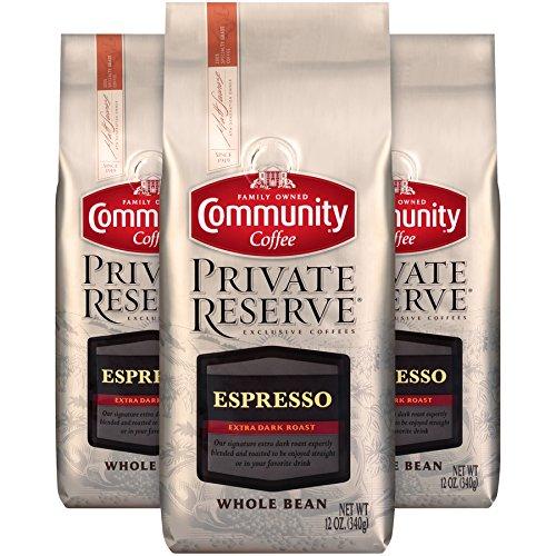 (Community Coffee Espresso Blend Extra Dark Roast Gourmet Private Reserve Whole Bean 12 Oz Bag (3 Pack), Full Body Rich Taste, 100% Specialty Grade Arabica Coffee)