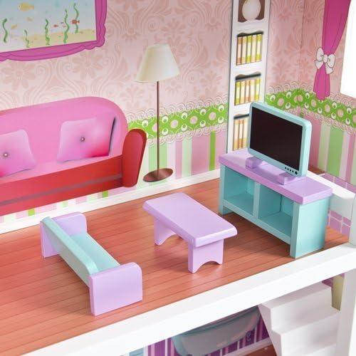 MCC ® en bois Enfants Maison de poupées avec meubles /& Escalier Pour Barbie Maison de Poupée