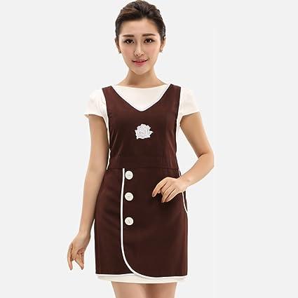 d48a8c1483 Amazon.com: Apron Women's nail shop beauty salon beautician uniforms Work  clothes-B: Home & Kitchen