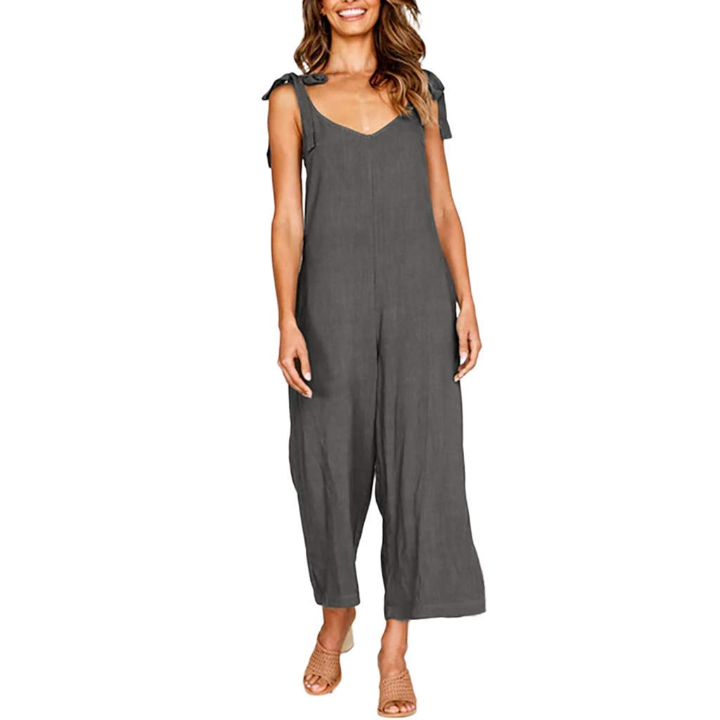Ladies Fashion Elegant Jumpsuit Women Jumpsuit Holiday Wide Leg Playsuit Ladies Summer Beach Rompers Dark Gray S