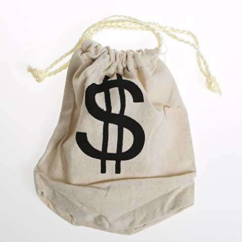 Drawstring Canvas Money Bag $  Dollar Sign