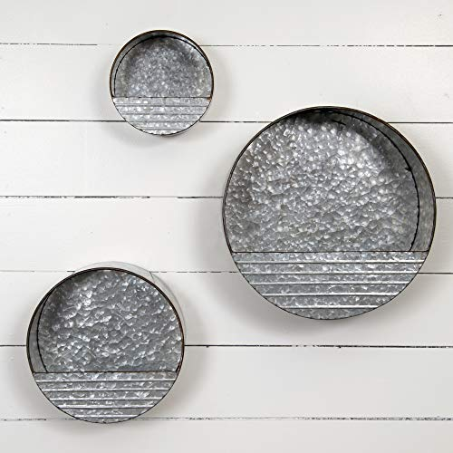 Everly Hart Collection Galvanized Metal Round Hanging Pocket Bins, Set of 3 Décor or Wall Art, Silver