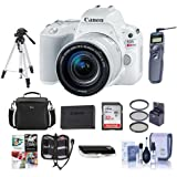 Canon EOS Rebel SL2 DSLR EF-S 18-55mm f/4-5.6 IS STM Lens - White - Bundle w/32GB SDHC Card, Camera Case, Spare Battery, Filter Kit, Tripod, Remote Release, Software Package More