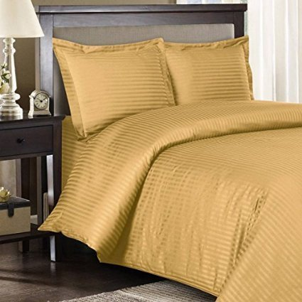 100% Egyptian Cotton Queen Size Gold Stripe Sheet Set in 900