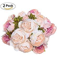 2 Pack Artificial Peony Wedding Flower Bush Bouquet-GreenDec Vintage peony Silk Flowers for Home Kitchen Wreath Wedding Centerpiece Decor,Light Pink
