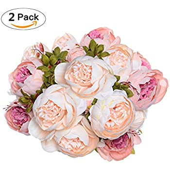 Amazon fake artificial flowers vintage silk peony flowers 2 pack artificial peony wedding flower bush bouquet greendec vintage peony silk flowers for home mightylinksfo
