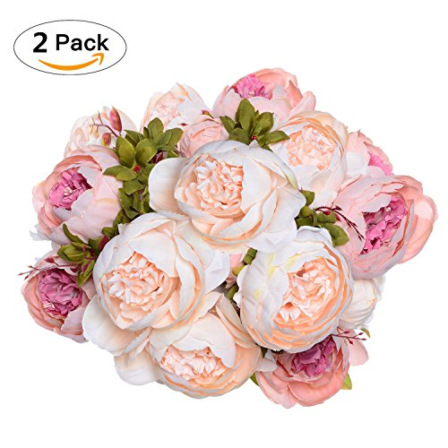 2 Pack Artificial Peony Wedding Flower Bush Bouquet - Artiflr Vintage Peony Silk Flowers for Home Kitchen Wreath Wedding Centerpiece Decor, Light Pink (Bouquet Peony Wedding)