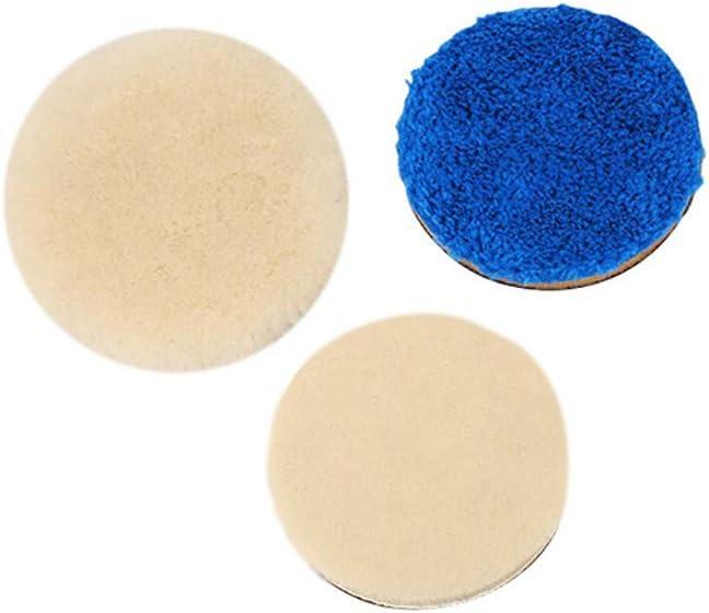 Wool Buffing Pad Sets with 1 Wool Pad 1 Japanese Wool Pad and 1 Blue Fiber Pad for Grinding and Polishing SPTA 3Pcs 3 inch Car Wool Polishing Pad