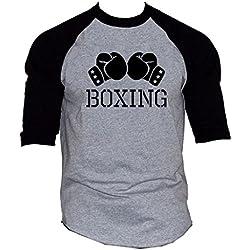 Men's Boxing Gloves V434 Gray/Black Raglan Baseball T-Shirt X-Large Gray/Black