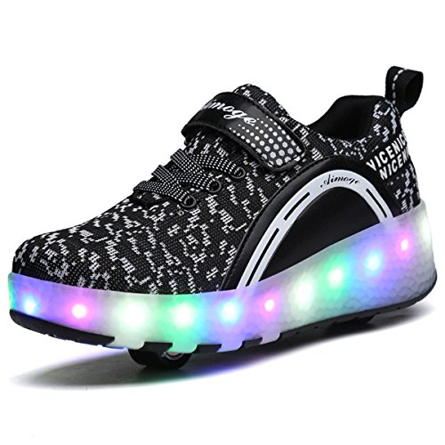 (6KZMNA0Z0A Children Walking Shoes Adult Flying Woven Coconut Shoes LED Light Shoes Double Roller Skates Black 1.5 M US Little)
