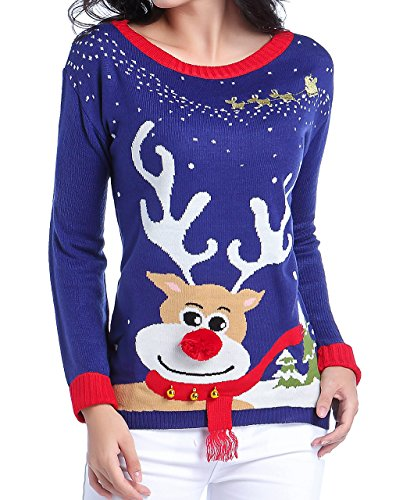 Ugly Christmas Sweater Reindeer 3D Nose