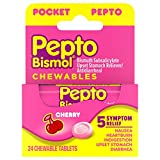 Pepto Bismol To Go Upset Stomach, Indigestion, Nausea, Heartburn and Diarrhea Relief Medicine, Cherry, 24 Chewable Tablets (2x12 Count Bottles) (Packaging May Vary)
