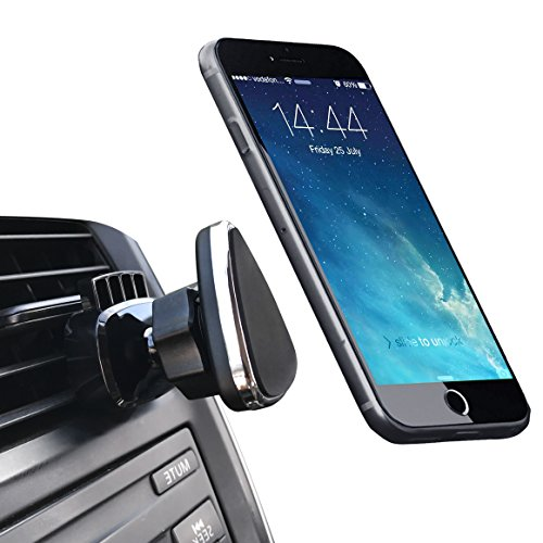 Mag Air - Magnetic Phone Car Mount, NOVOLAND Cell Phone Mount Holder for Car Air Vent Strong Magnet Easy Bite-lock 360 Rotation for Apple iPhone X 8 7 6 6s Plus Samsung Galaxy S8 S7 S6 Edge Note 8 7 6, Black