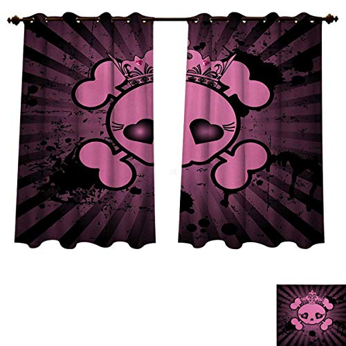 RuppertTextile Skull Bedroom Thermal Blackout Curtains Cute Skull Illustration with Crown Dark Grunge Style Teen Spooky Halloween Print Blackout Draperies for Bedroom Pink Black W63 x L72 inch -
