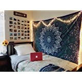 Montreal Tapessier Blue star Hippie Tapestry, Hippy Mandala Bohemian Tapestries, Indian Dorm Decor, Psychedelic Tapestry Wall Hanging Ethnic Decorative (Multi Color)