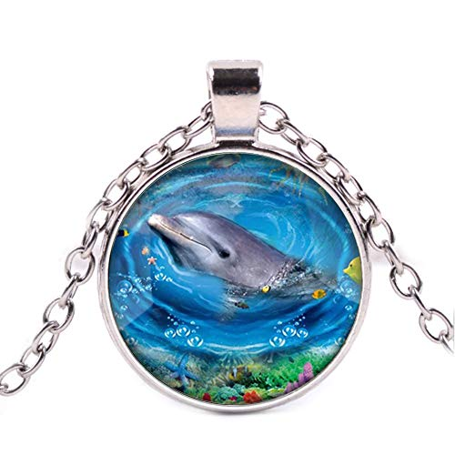 Small Fresh Dolphin Glass Time Gemstone Pendant Necklace Silver Chain Jewelry