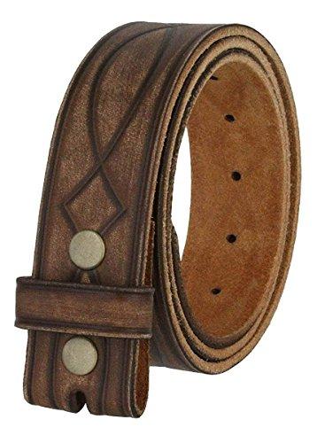 """Fullerton 382000 Genuine Full Grain Leather Tooled Belt Strap 1-1/2"""" (38mm) - (Brown, 34)"""