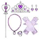 Eccoo House 6PCs Princess Dress Up Accessories Gift Set for Sofia Crown Scepter Necklace Earrings Gloves Ring