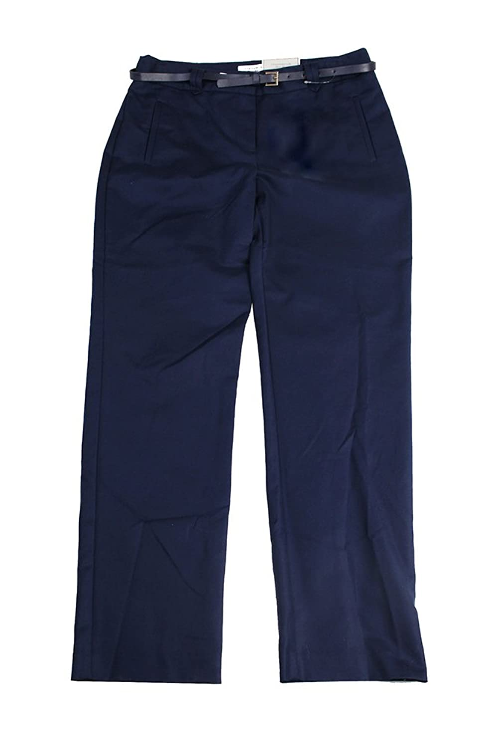 Charter Club Intrepid Blue Straight-Leg Belted Ankle Pants