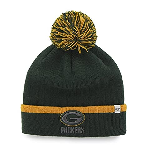 NFL Green Bay Packers '47 Baraka Cuff Knit Hat with Pom, One Size Fits Most, Dark Green (Green Bay Packers Hat Scarf)