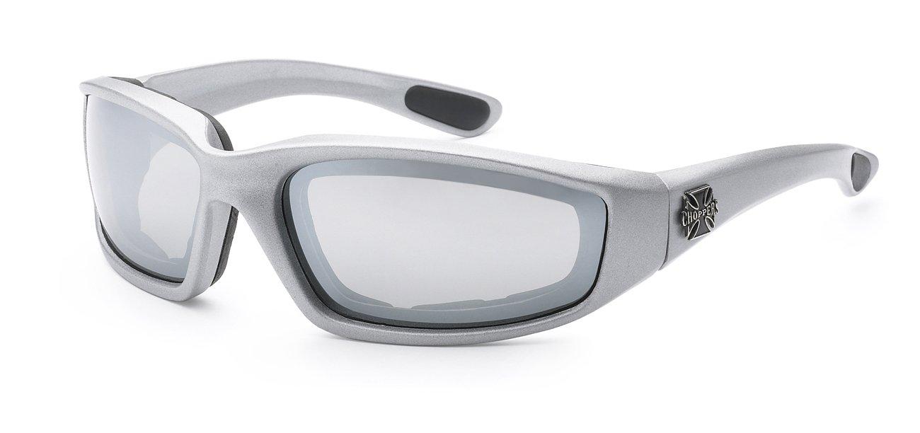 696dc7bb7f Galleon - Choppers Gangster Mens Women Biker Foam Padded Matte Motorcycle  Goggles Sunglasses (Silver Revo Mirrored)