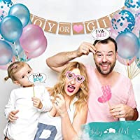 """HISG Gender Reveal Party Supplies and Baby Shower Boy or Girl Kit (64 Pieces) - Including 36"""" Reveal Balloon, Confetti…"""