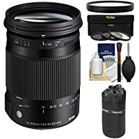 Sigma 18-300mm f/3.5-6.3 Contemporary DC Macro OS HSM Zoom Lens (for Canon EOS Cameras) with 3 UV/CPL/ND8 Filters + Macro Filter + Pouch + Kit for Canon EOS DSLR Cameras