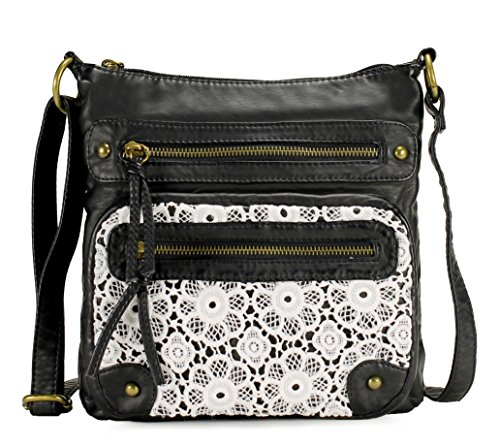 Scarleton Chic Lace Style Crossbody Bag H191201 - Black