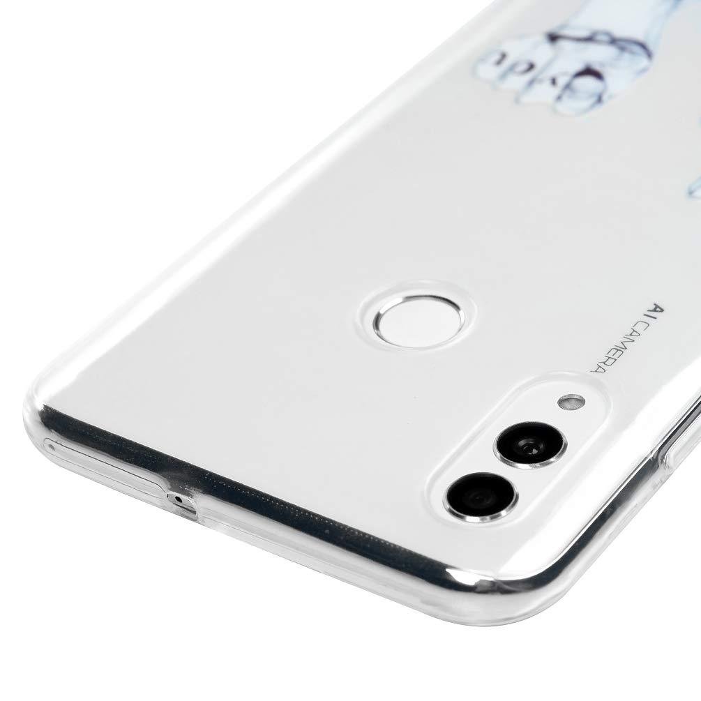 Ligne Geste 3x Coque pour Huawei Honor 10 Lite//P Smart 2019 Etui Transparent Silicone TPU Mince L/éger Souple Professionnel Nouveau Housse Protecteur Licorne Ballon