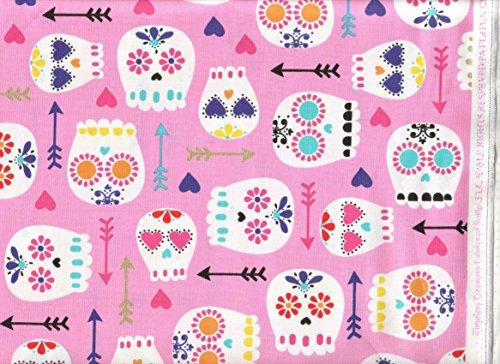 Quilt Fabric Folk Art (Timeless Treasures Fabric Fun Folk Art Skull Fabric Fun-CM3553 Sugar Skulls Skull Tattoo Quilt Fabric ~ HALF YARD ~ 100% Cotton 45