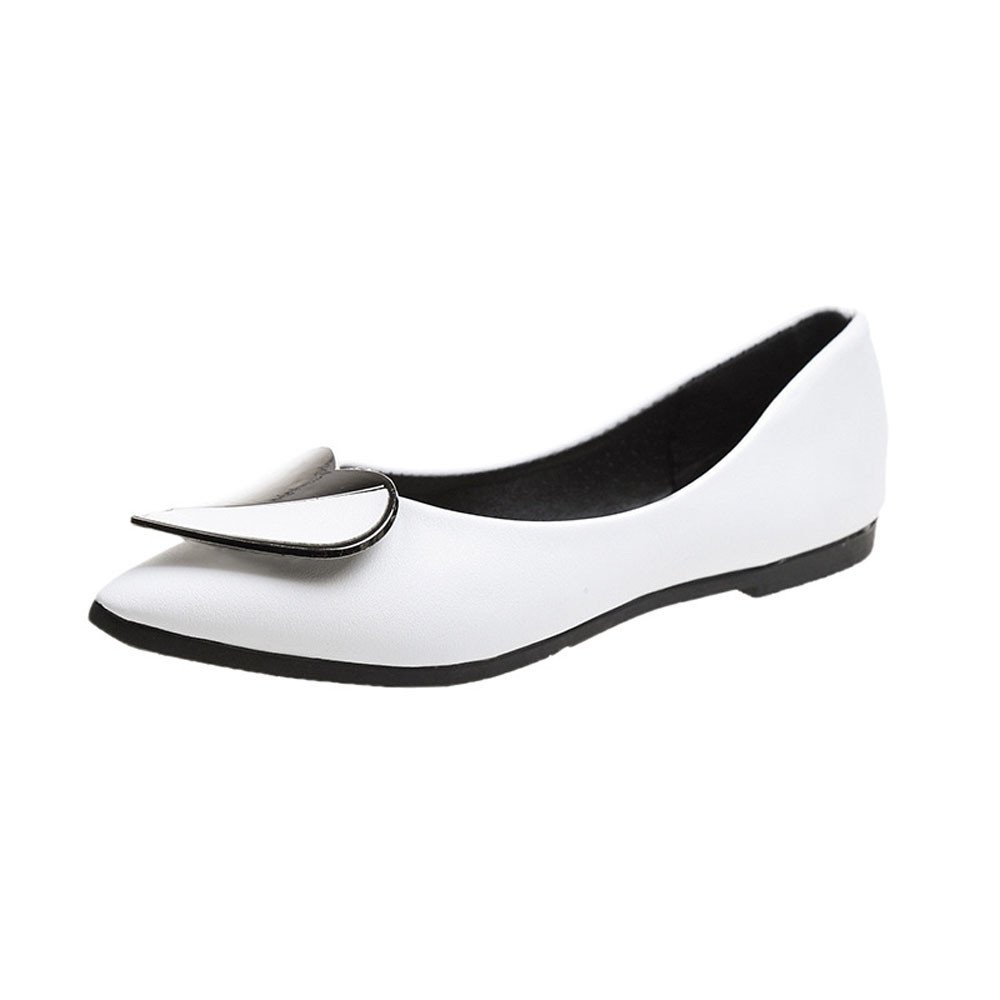 Nevera Mary Women's Ballet Soft Casual Pointed Toe Slip on Flat Dress Shoes White