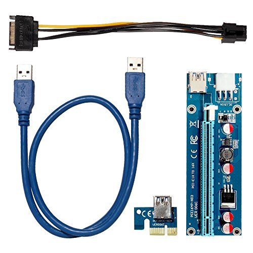 QNINE PCIe Riser 8 Pack, GPU Riser Adapter Card, PCI Express 1X to 16X Extender, Mining Graphics Card USB 3.0 Extension & 6pin MOLEX to SATA Power Cable for Ethereum Bitcoin Litecoin Device by QNINE (Image #4)