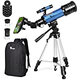 TELMU Telescope Kids Adults 70mm Portable Travel Telescope Astronomy Refractor Telescopes Universal Wheel Tripod Observing Moon Scenery (Rucksack&Mobile Stands Included)