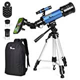 Photo : TELMU Telescope for Kids and Adults 70mm Portable Travel Telescope Astronomy Refractor Telescopes with Universal Wheel Tripod Observing Moon and Scenery (Rucksack&Mobile Stands Included)