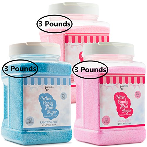 The Candery Cotton Candy Floss Sugar 3-Pack (Cherry, Strawberry, Raspberry ()
