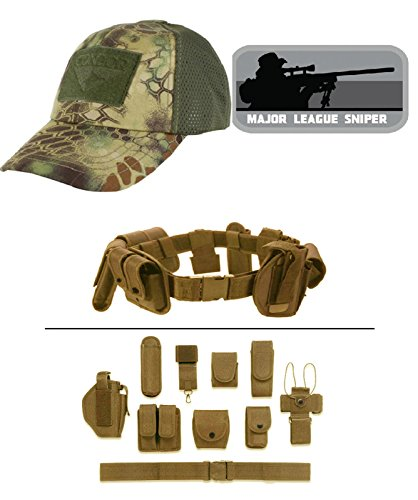 Cap Mesh Kryptek Mandrake + MAJOR LEAGUE SNIPER GREY + Tan Duty Belt (Mandrake Halloween Costume)