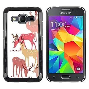 FECELL CITY // Duro Aluminio Pegatina PC Caso decorativo Funda Carcasa de Protección para Samsung Galaxy Core Prime SM-G360 // Deer Art Forest Animal Autumn Pack