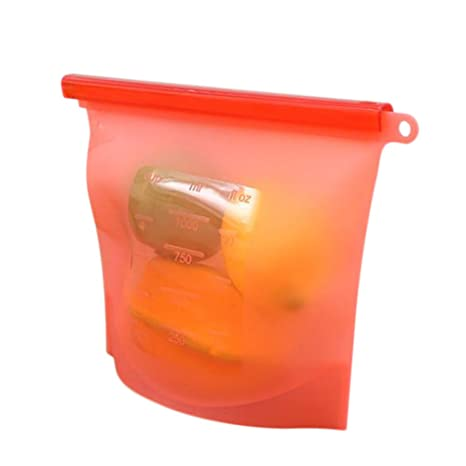 wicemoon bolsas de sellado al vacío de alimentos. Alimentos congelados funda frigorífico alimentos frutas silicona bolsas, silicona, Rojo, 23*17.5cm