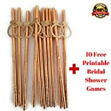 Rose Gold Bridal Shower Decorations and Games: Bachelorette Gifts Bride to Be Banner (Gold Ring Confetti Straws)